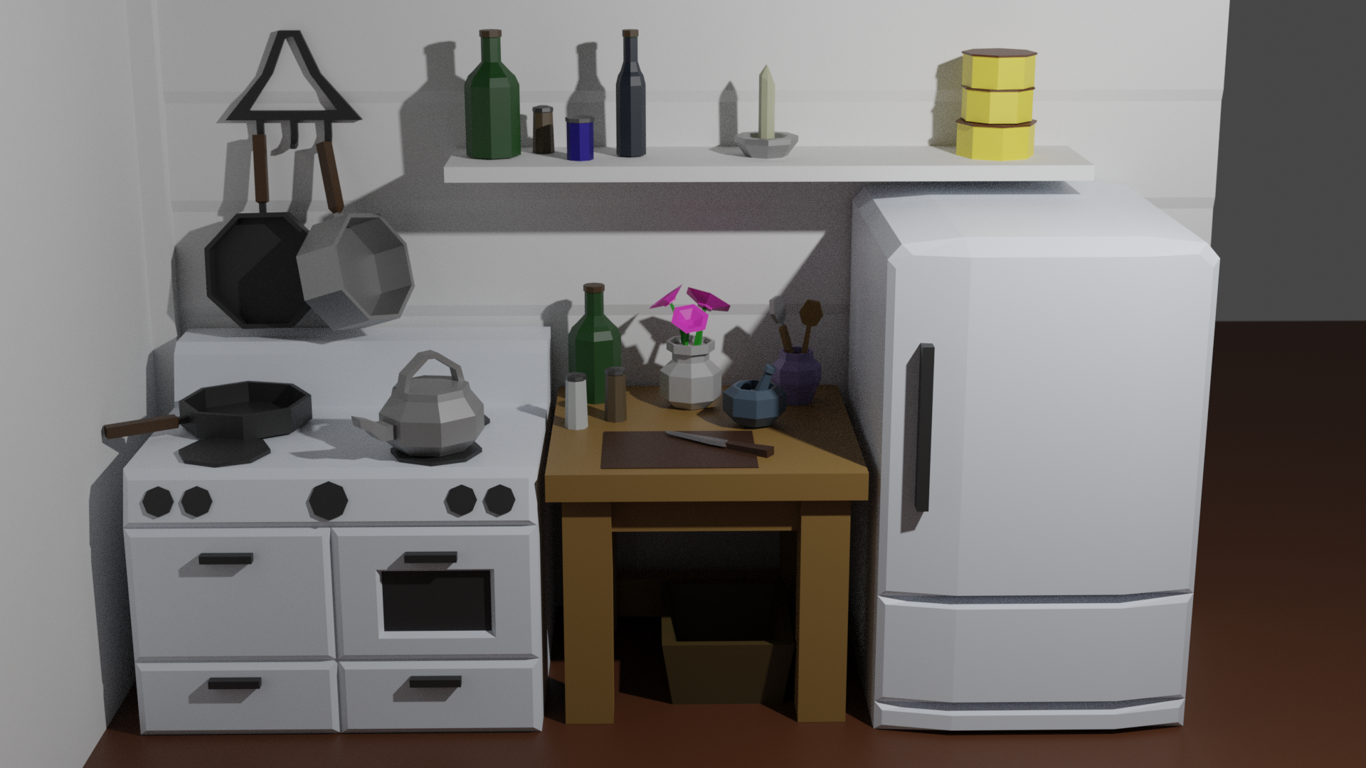 A kitchen scene, modeled in 3D with flat colors and few polygons.