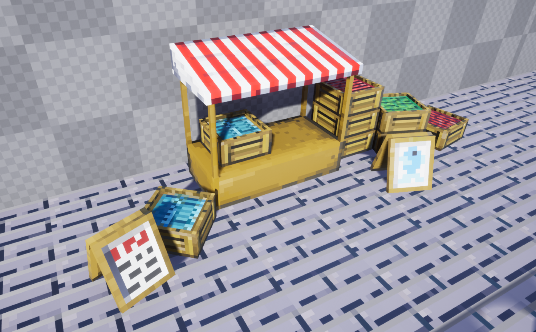 A market stall with boxes of food and signs, modeled in 3D and textured with giant chunky pixels.